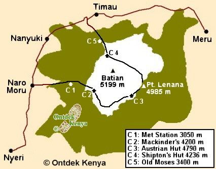 Map for Mount Kenya climbing