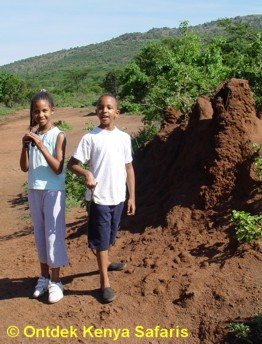 Kenya family safaris: our kids next to a termite mound