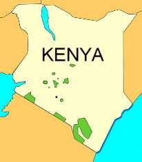 Map of Kenya with driving times