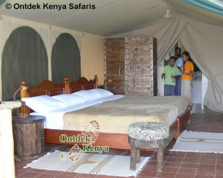 Walking trips in Kenya: inside a tent of the Sangare Camp.